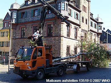 15.40 Uhr: Der Maibaum wird zum Maibaumsetzen vorgefahren.