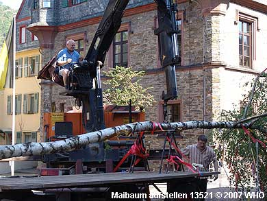 Zur Maibaumaufstellung wird das Autokran-Seil am Maibaum befestigt.
